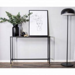 Avlastningsbord Dipp 100cm, marmorglas/svart/mässing