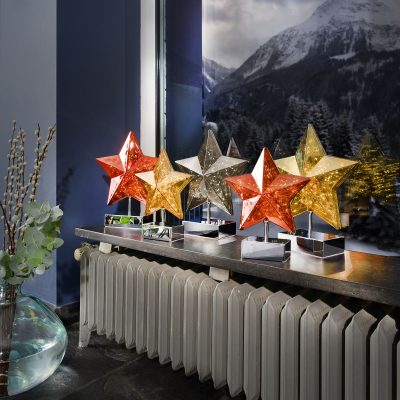 Bordslampa Stella i stjärnform, höjd 27 cm, guld