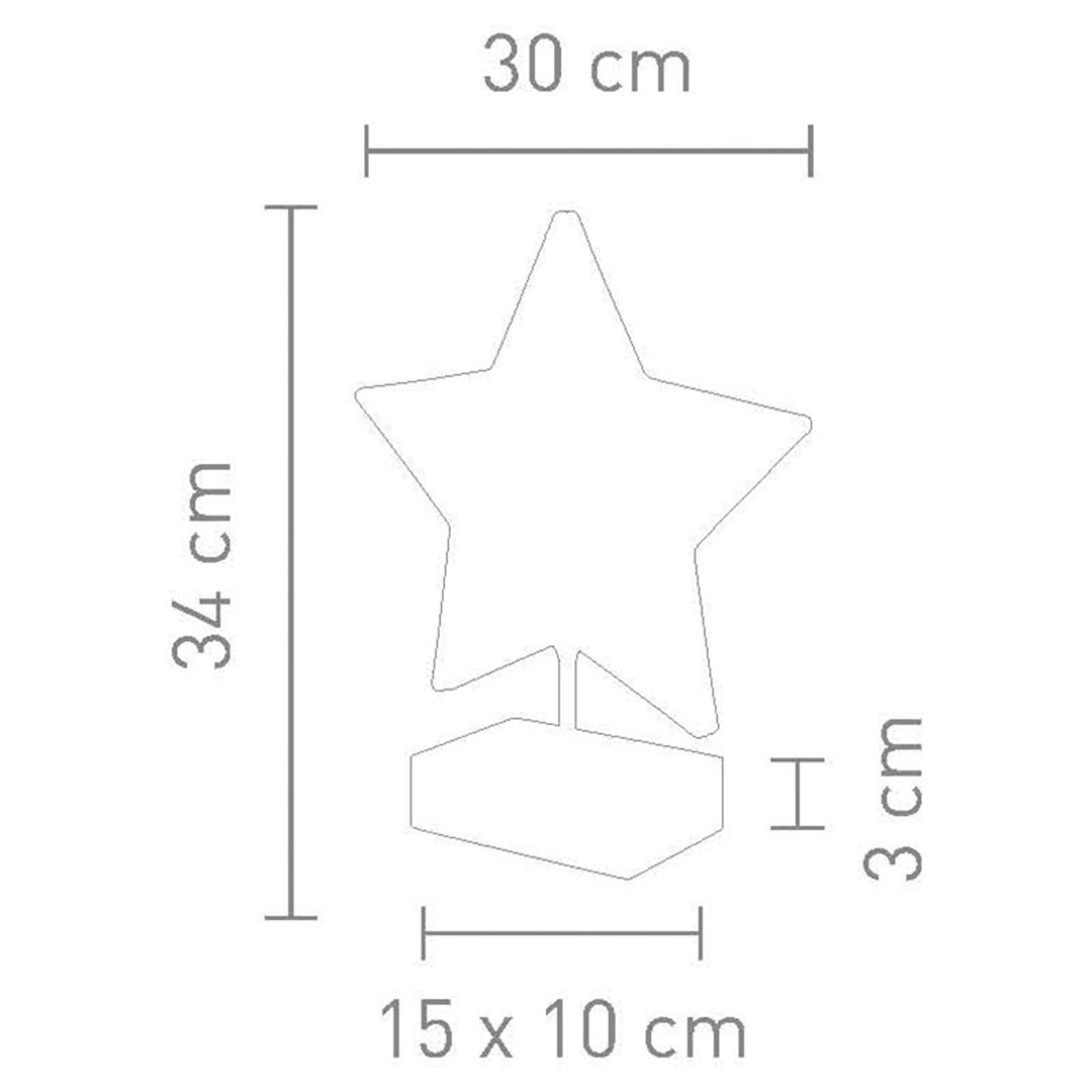 Bordslampa Stella i stjärnform, höjd 34 cm, guld