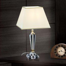 Bordslampa Veronique, fot smal, creme/guld