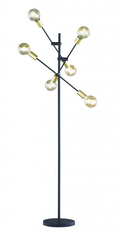 Cross golvlampa 6xE27 m-svart/guld