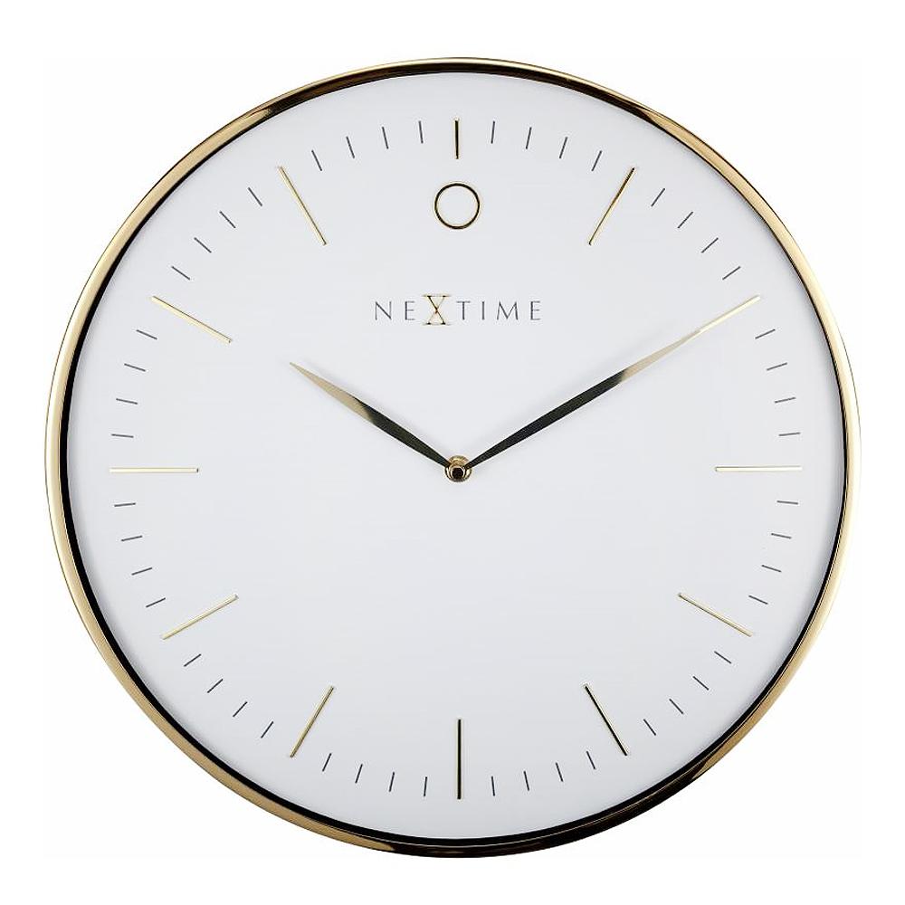NeXtime – Glamour Väggklocka 40 cm Vit/Guld