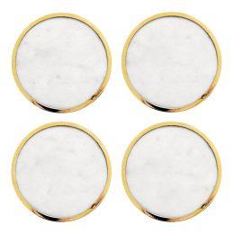 Glasunderlägg Marmor 4-pack Vit/Mässing