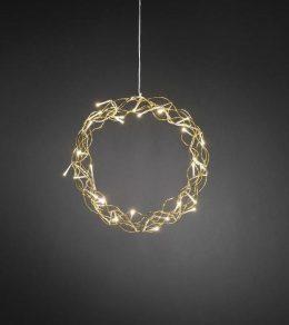 Krans 30cm varmvita LED (Mässing/guld)