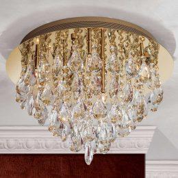 Kristall-taklampa Helen i guld, 45 cm