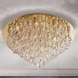 Kristall-taklampa Helene i guld, 75 cm