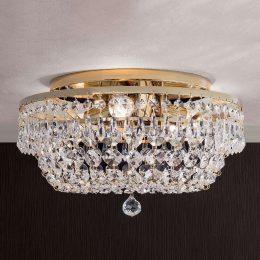 Kristalltaklampa SHERATA rund, guld 35 cm