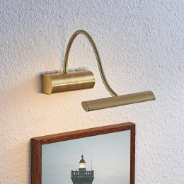 LED-tavelbelysning Rakel, flexarm, matt mässing