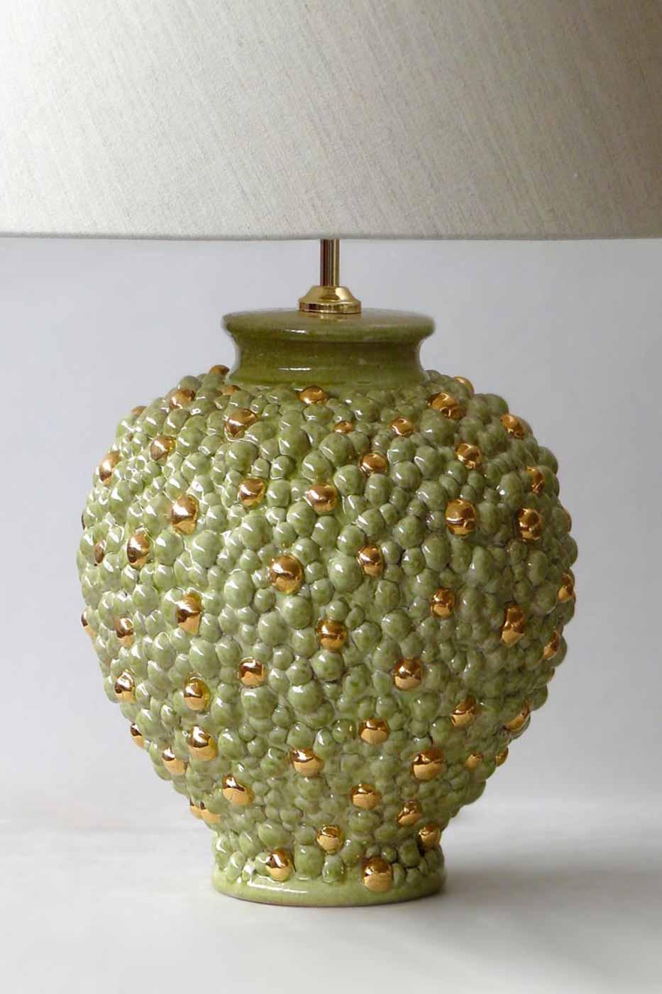 Lampfot Bubbles ljusgrön med guld detaljer