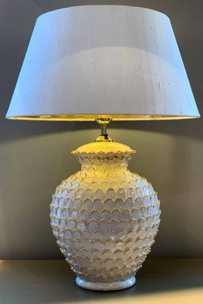 Lampfot Scale vit/guld