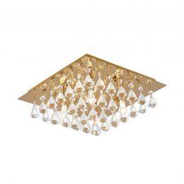 Lindby Rimedia taklampa, guld, 35 cm