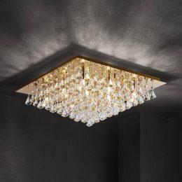 Lindby Rimedia taklampa, guld, 55 cm