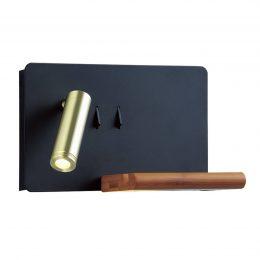 Lucande Kimo LED-vägglampa svart/guld USB-hylla