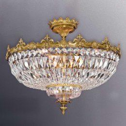 Mässingfärgad taklampa Stephanie med kristaller