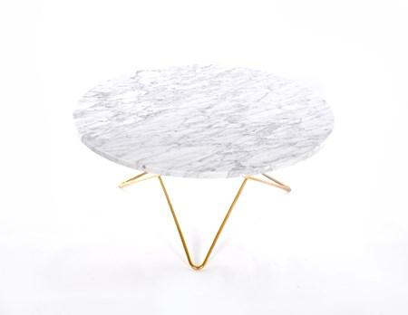 O Table Matbord Mässing/Matt Vit Marmor Ø100