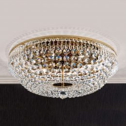 Rund kristalltaklampa SHERATA, guld 55 cm