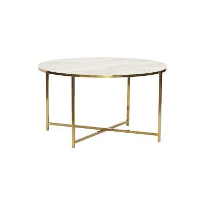Runt soffbord vit marmorlook/ guld, Hubsch