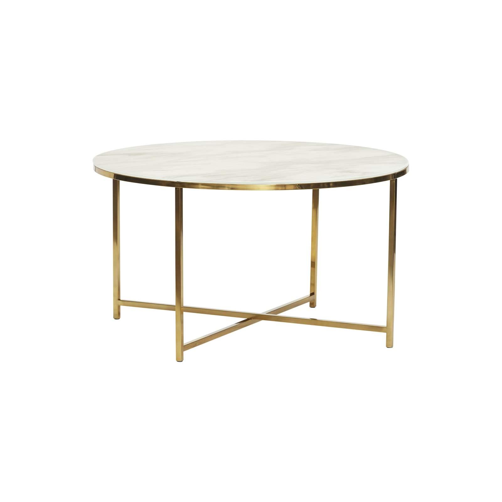 Runt soffbord vit marmorlook / guld, Hubsch