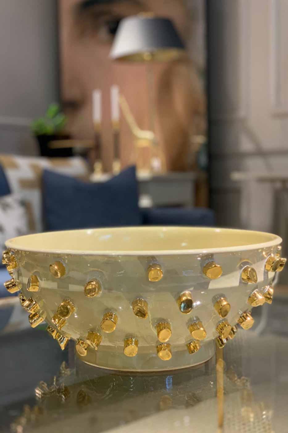 Skål gul med guld dekoration
