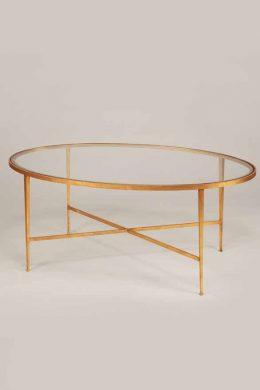 Soffbord Wells oval guld med glas