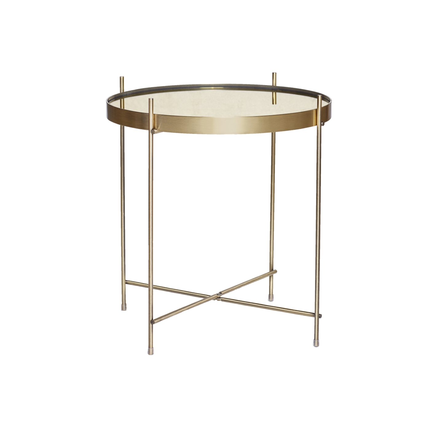 Soffbord runt tonat glas/ guld, Hubsch