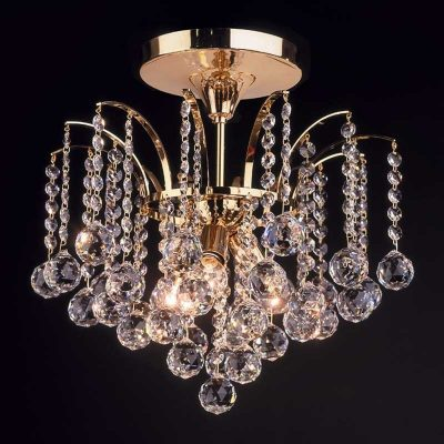 Taklampa LENNARDA, kristall/guld 42 cm