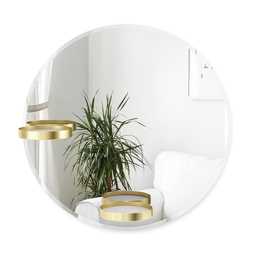 Umbra – Umbra Perch Spegel med Justerbara Hyllor Ø60 cm Mässing