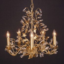 Utsökt lampkrona Buono med 5 ljuskällor, guld
