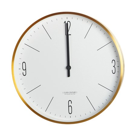 Väggklocka Clock Couture Ø 30 cm Guld/Vit