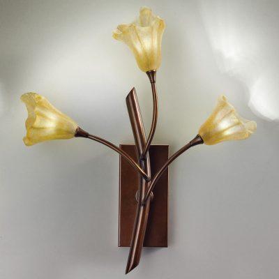 Vägglampa 7142 3 lampor mässing bronserad/bärnsten